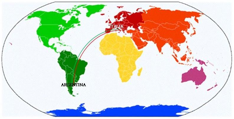 Mappamonto italia-argentina